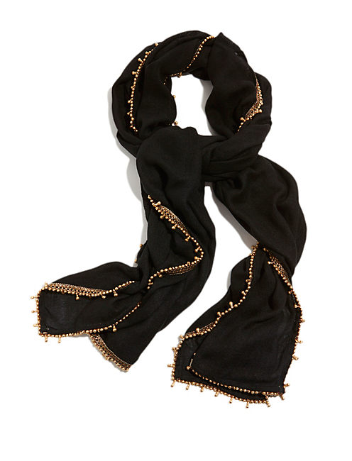 GOLD TRIM VISCOSE SCARF, BLACK
