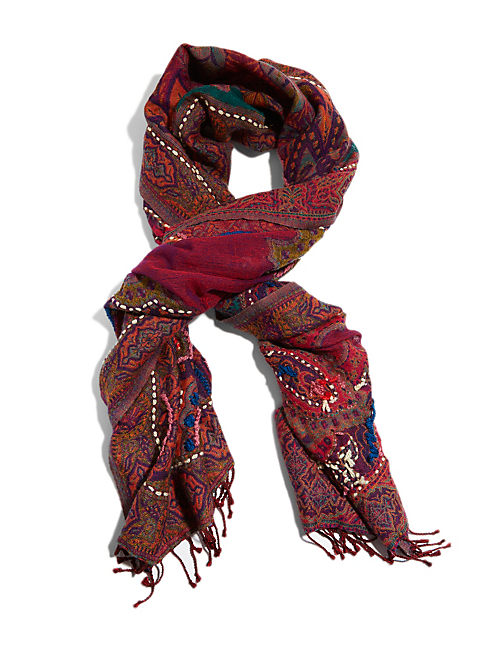 RED TAPESTRY SCARF, DARK RED