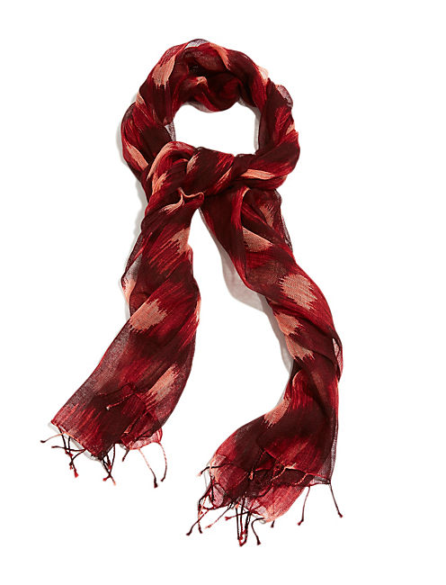 PETER DUNHAM PRINT SCARF, DARK RED