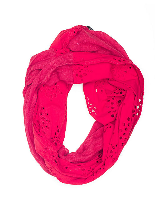 EYELET INFINITY SCARF, BRIGHT RED