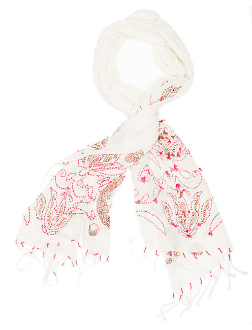 PICK STITCH SCARF, MENIUM LIGHT RED