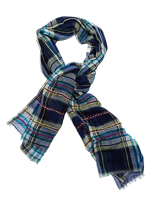 TEXTURED PLAID SCARF, RINSE