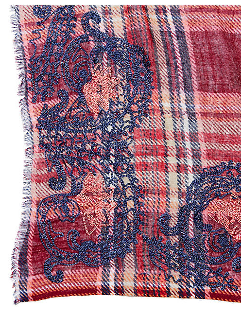 EMBROIDERED PLAID SCARF, DARK RED