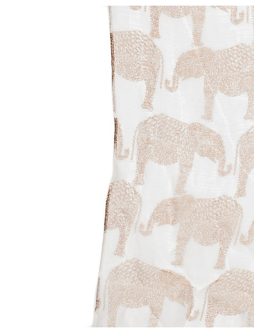 ELEPHANT CARAVAN SCARF, NATURAL