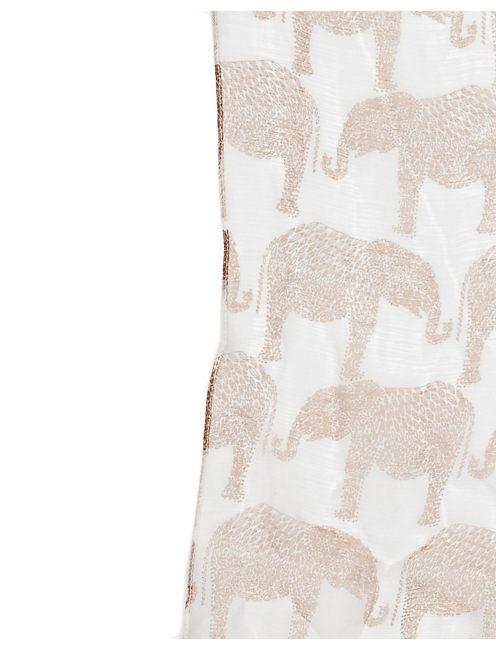 ELEPHANT CARAVAN SCARF, NATURAL