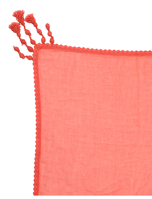 SOLID GAUZE SQUARE, CORAL PINK