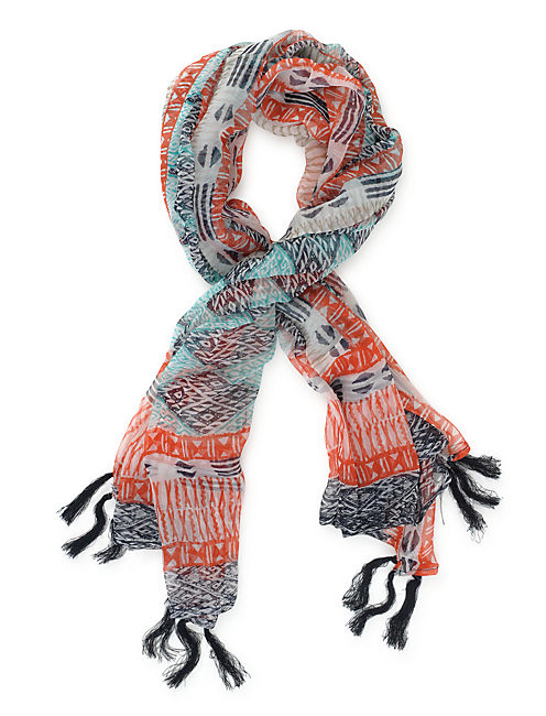 IKAT TILE SCARF, BRIGHT BLUE
