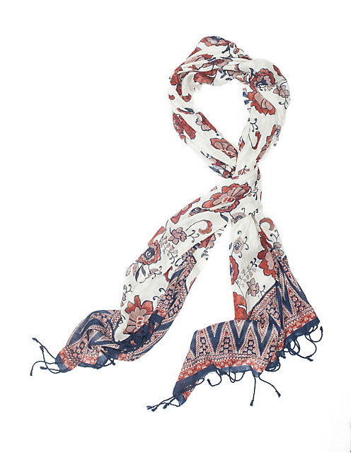 OPEN GROUND FLORAL SCARF, NATURAL