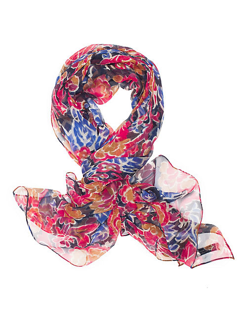 EXPLODED FLORAL SCARF, DARK BLUE