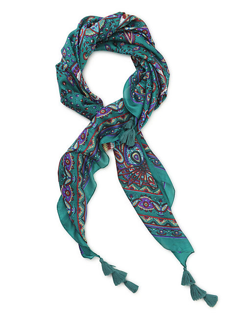 PAISLEY SCARF PRINT, MEDIUM LIGHT GREEN