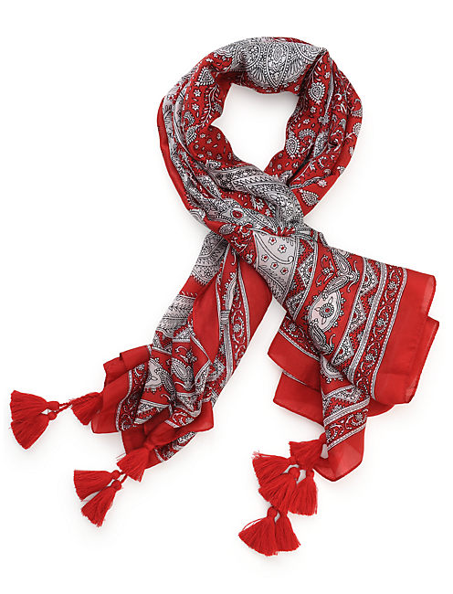 PAISLEY BANDANA, BRIGHT RED