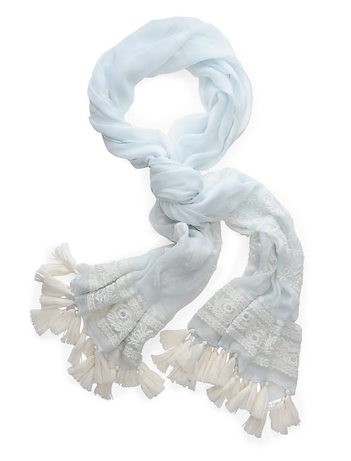 EMBROIDERY LACE SCARF, LIGHT BLUE