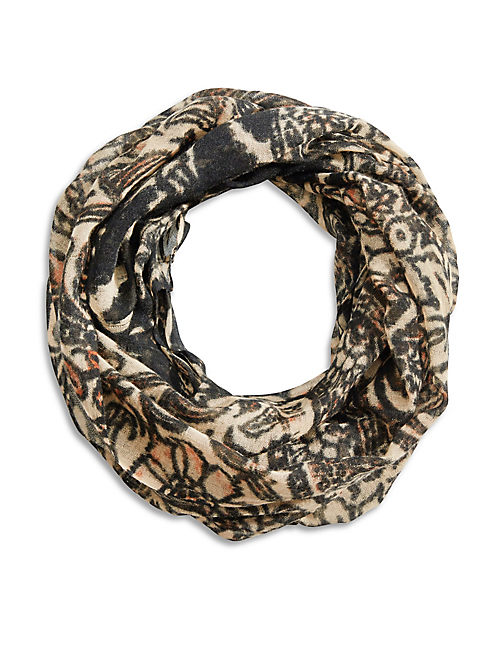 INDIAN FLOWERS SCARF, LIGHT BROWN