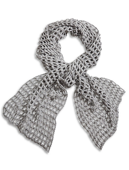 OPEN KNIT SCARF, MEDIUM LIGHT GREY