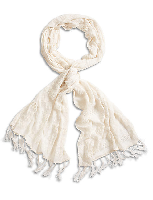 LACE TEXTURED SCARF, NATURAL