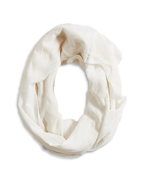 EMBROIDERED SCARF, 1042 IVORY