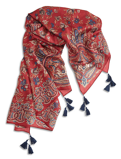 FLORAL PAISLEY SCARF, 636 RED