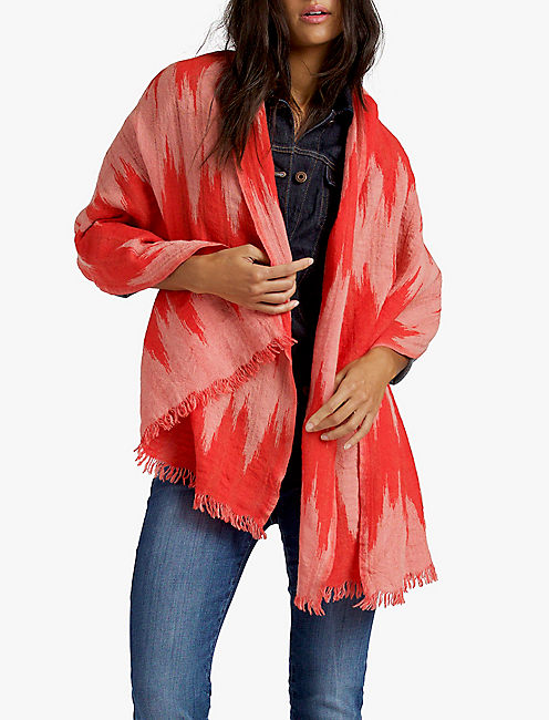 IKAT TEXTURE STRIPE SCARF, CORAL