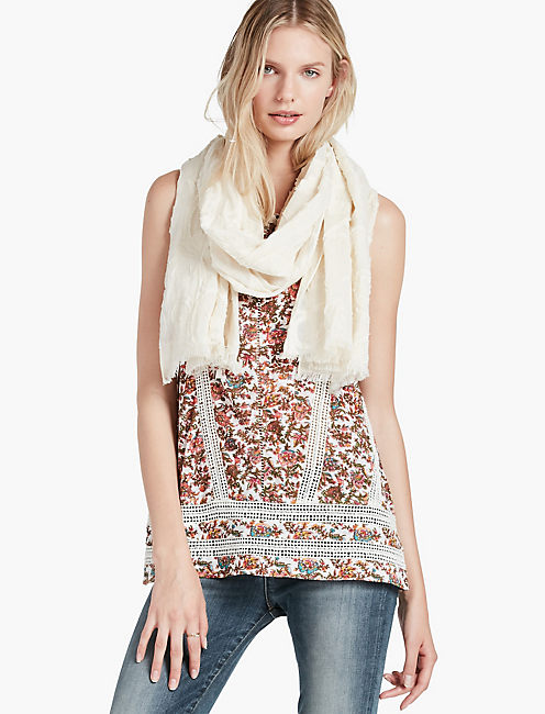 LUCKY FLORAL FRAY SCARF