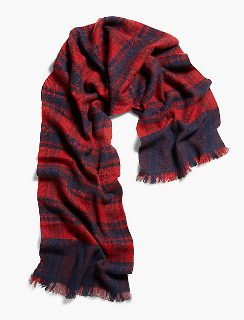 CHECKERED SCARF, NAVY/RED