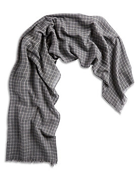 MENS CHARCOAL GRID SCARF