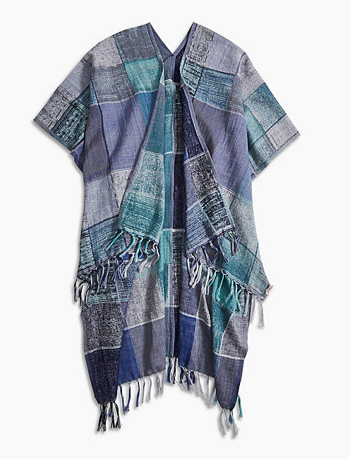 Lucky Ikat Plaid Kimono