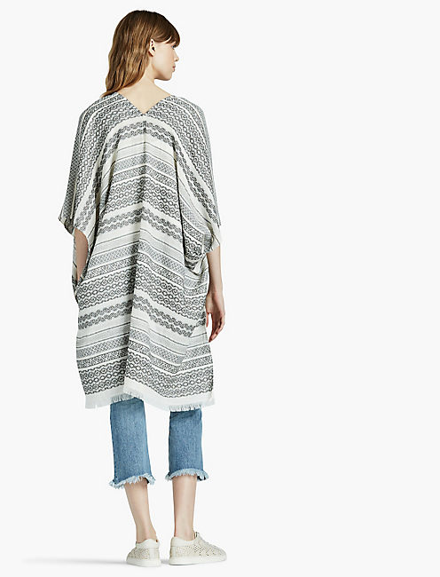 PATTERNED STRIPE KIMONO, NEUTRAL