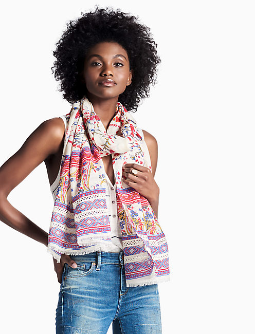 NEON LIGHTS FLORAL SCARF,