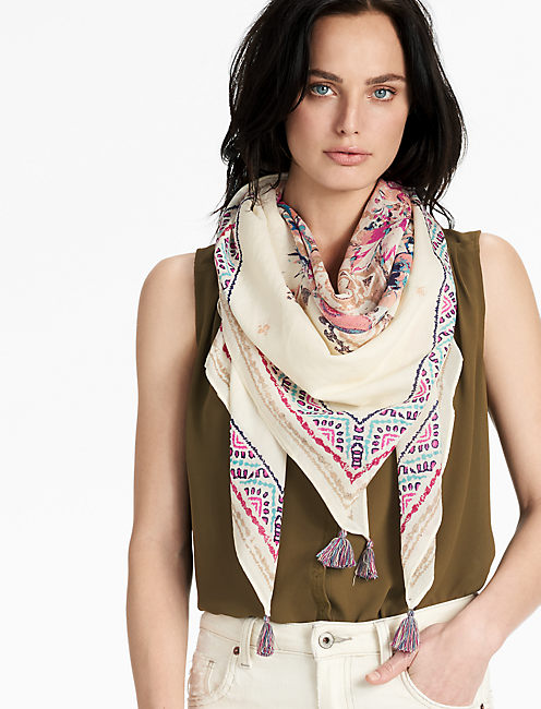 SQUARE FLORAL SCARF,