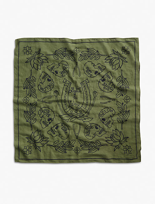 Lot, Stock And Barrel EMBROIDERED SKULL BANDANA, OLIVE