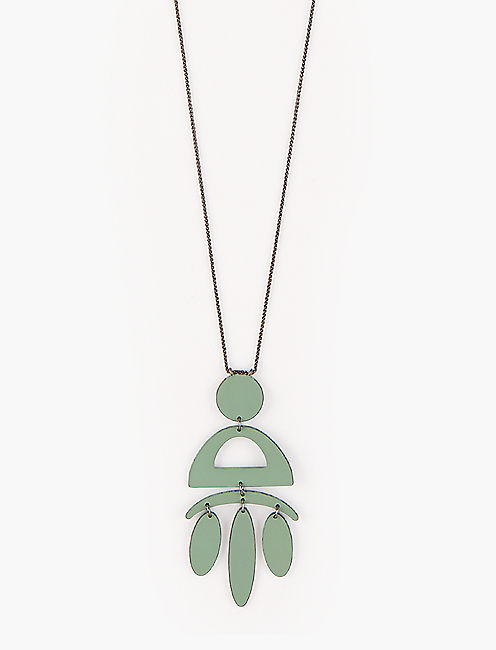 PAINTED OLIVE NECKLACE,