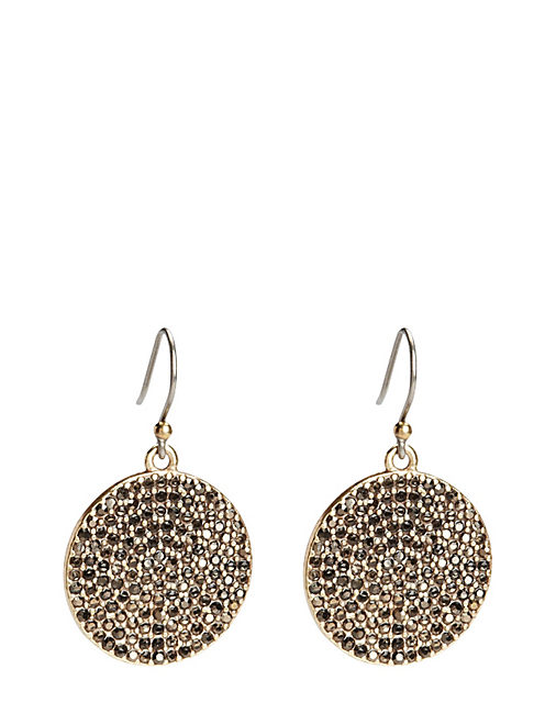 PAVE DISK EARRING, MEDIUM DARK YELLOW