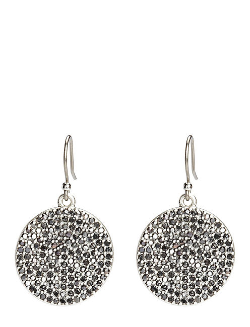 PAVE DISK EARRING, SILVER