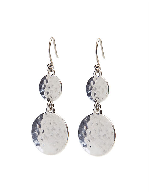 HAMMERED DROP EARRING, SILVER