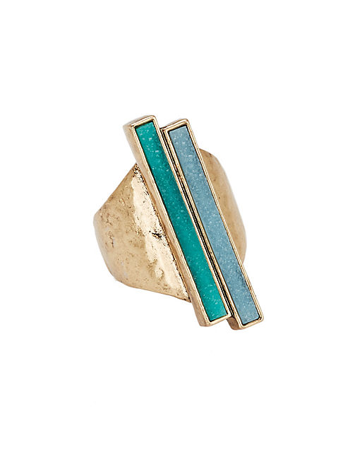 TURQUOISE GEOMETRIC RING, 715 GOLD