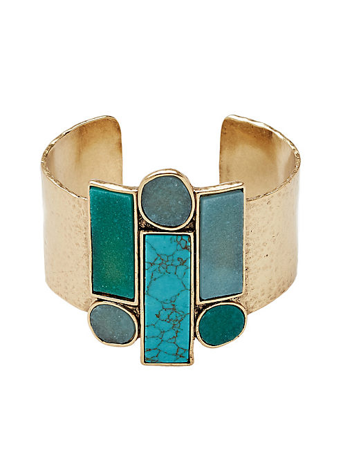 TURQUOISE STONE CUFF, 715 GOLD