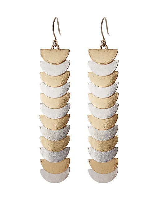 METAL LINEAR DROP EARRING, MULTI