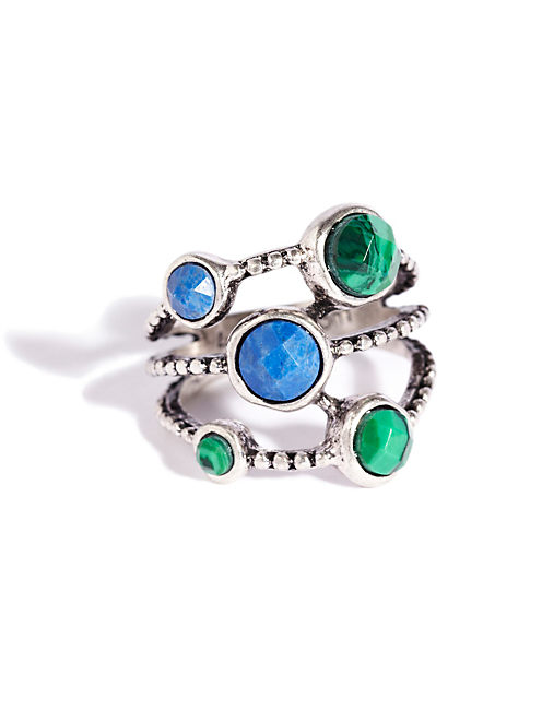 TRIPLE SET STONE RING, SILVER