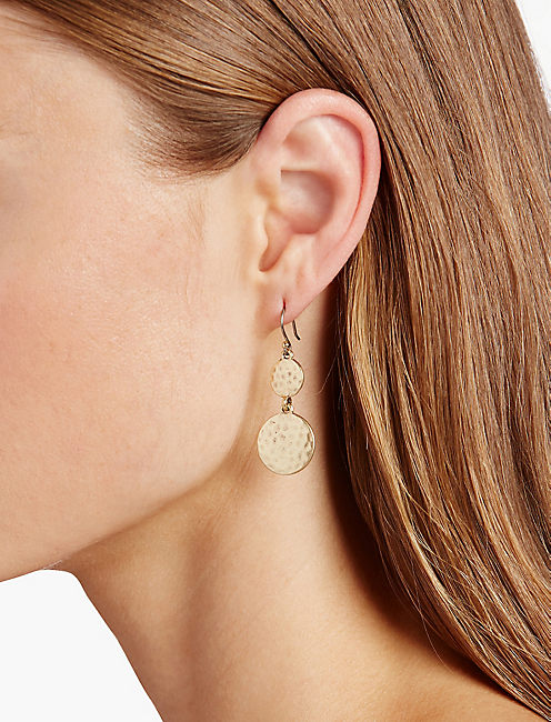 HAMMERED DROP EARRING, 715 GOLD