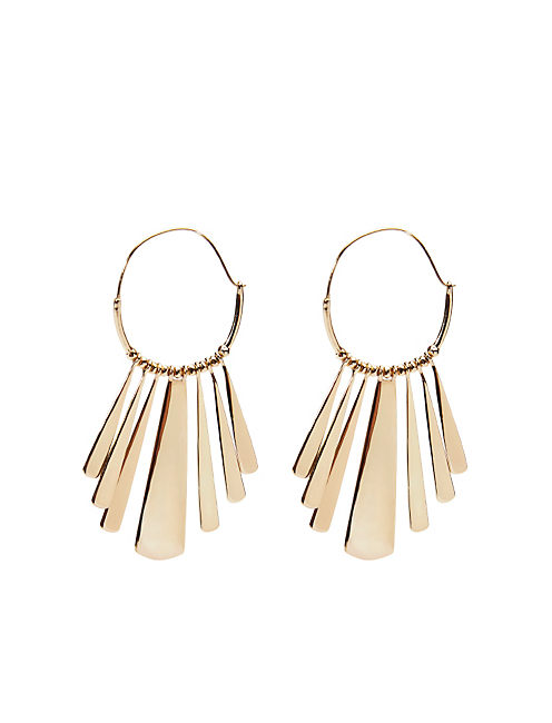 METAL PADDLE HOOP EARRING, 715 GOLD