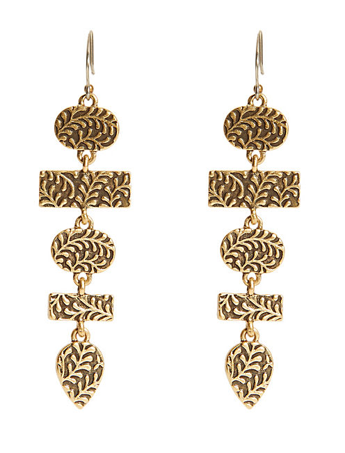 SET STONE LINEAR EARRING, 715 GOLD