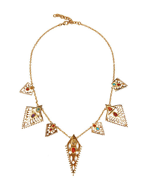 MULTI TRIANGLE NECKLACE, 715 GOLD