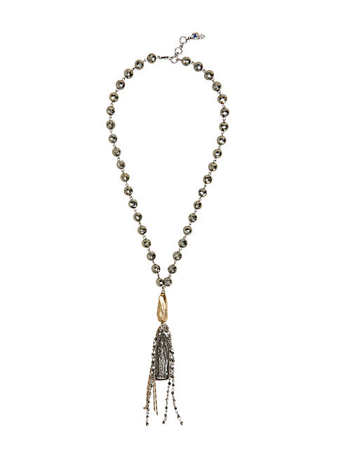 PYRITE TASSEL NECKLACE, MULTI