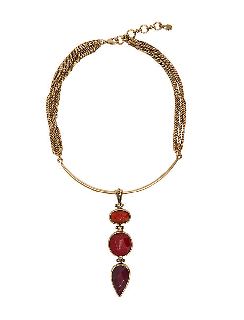 SET STONE COLLAR NECKLACE, 715 GOLD