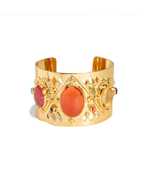 MULTI SET STONE CUFF, 715 GOLD