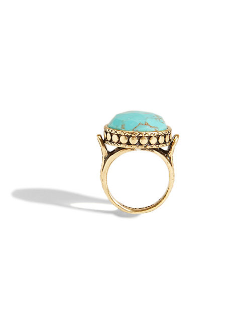 TURQUOISE SET STONE RING, 715 GOLD