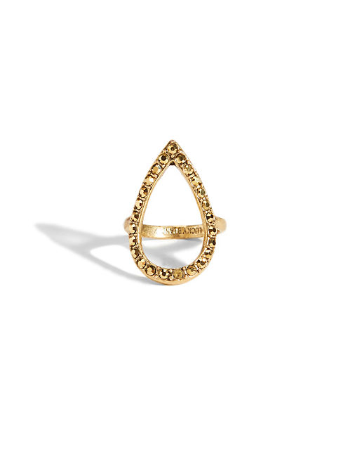 PAVE TEAR DROP RING, 715 GOLD