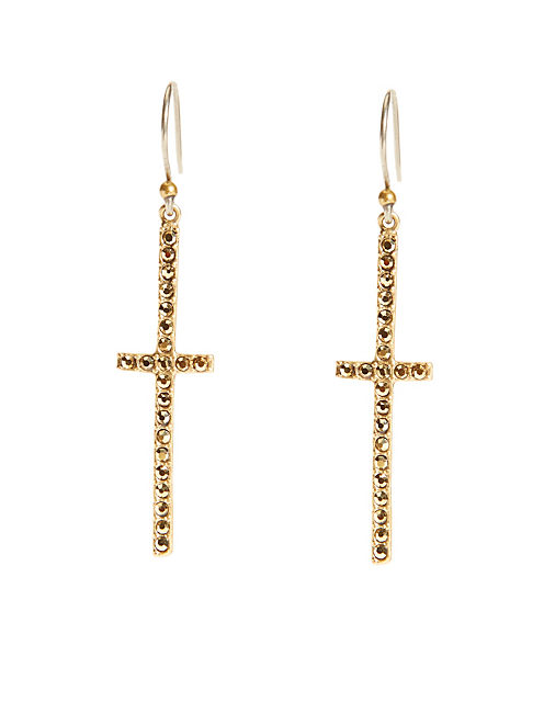 CROSS EARRING, 715 GOLD