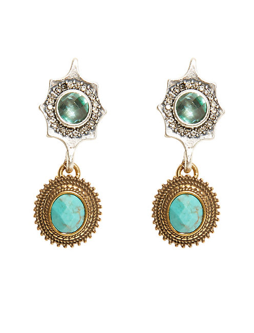 TURQ DOUBLE DROP EARRING, MULTI