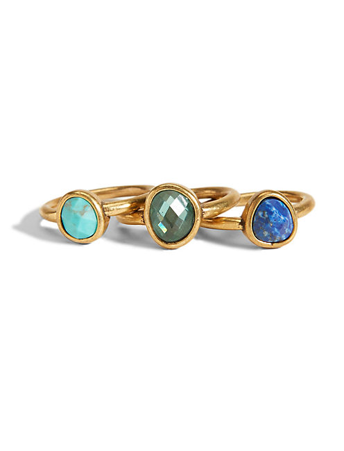BLUE TRIPLE STACK RING, 715 GOLD